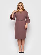 Офісне плаття для повних з поясом шоколадне, фото 2