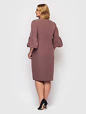 Офісне плаття для повних з поясом шоколадне, фото 3