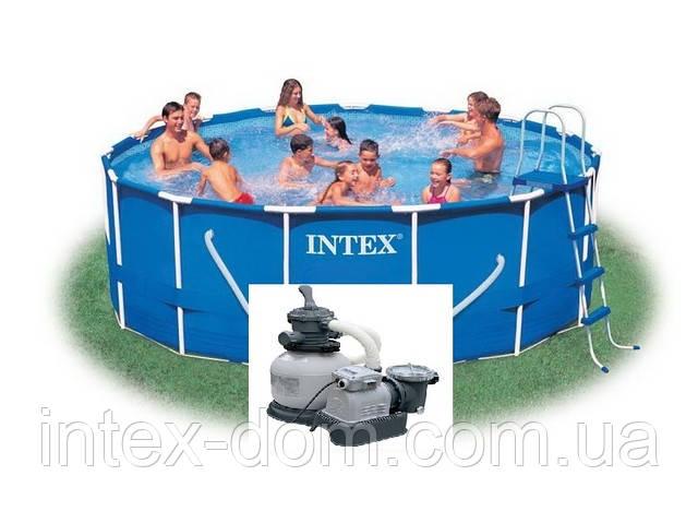 Каркасный бассейн INTEX Metal Frame. Арт. 54946//28236 (457x122cм)+28644 Песочный фильтр-насос 4000 л/ч Int