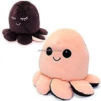 Мягкая игрушка «Осьминог перевертыш» Копиця, двусторонний, персиковый/коричневый, 14*20*19 см, (00514-3)