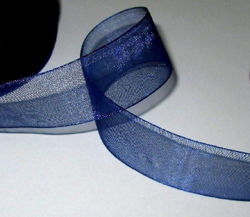 Лента органза 2,5 темно-синяя 1м