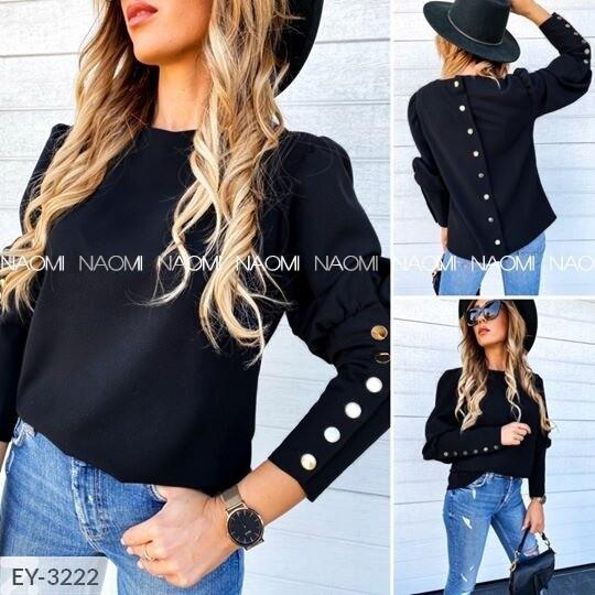 Стильная модная женская блуза с пуговицами на спине и на рукавах р-ры 42-48 арт.  834
