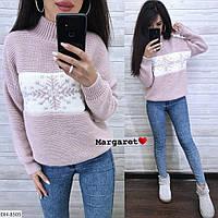 Вязаный свитер женский модный машинная вязка шерсть с акрилом  р-ры 42-46 арт. 8512