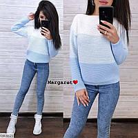 Модный трехцветный женский свитер вязанный женский машинная вязка с длинным рукавом р-ры 42-46 арт. 6621/6627