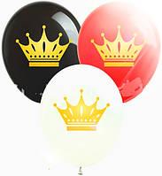 Повітряні латексні кулі 12 дюймів набір прозорих куль з малюнком корона золотая10 шт