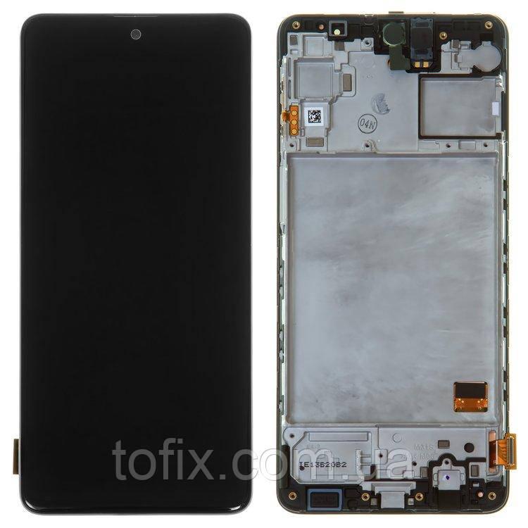 Дисплей для Samsung Galaxy M31s M317, модуль (екран і сенсор) з рамкою-панеллю, сервісний оригінал