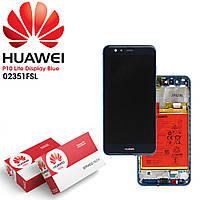 Дисплей для Huawei P10 Lite, модуль (екран сенсор) з АКБ, з рамкою, синій, сервісний оригінал (#02351FSL)