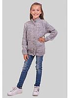 В'язана кофта для дівчинки з косами зріст 122-152 см