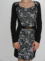 Теплое трикотажное офисное платье сцветочным кружевным принтом T.A.T.U. 5544 Турция рр.S, М