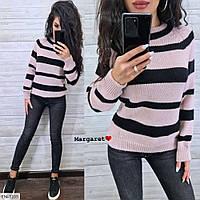 Модный мягкий женский свитер машинная вязка шерсть с акрилом в полоску  р-ры 42-46 арт. sweet 3103/3111