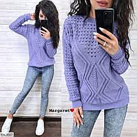 Красивый модный вязаный свитер женский машинная узорная вязка р-ры 42-46 арт.joan 3067/3073
