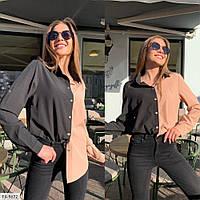Трендова блузка жіноча двоколірна в рубашечном стилі з легкого софта р-ри 42-48 арт. sv 195
