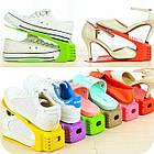 [ОПТ] Подставка для обуви двойная практичная яркая Shoe Racks тумба для хранения в доме, фото 5