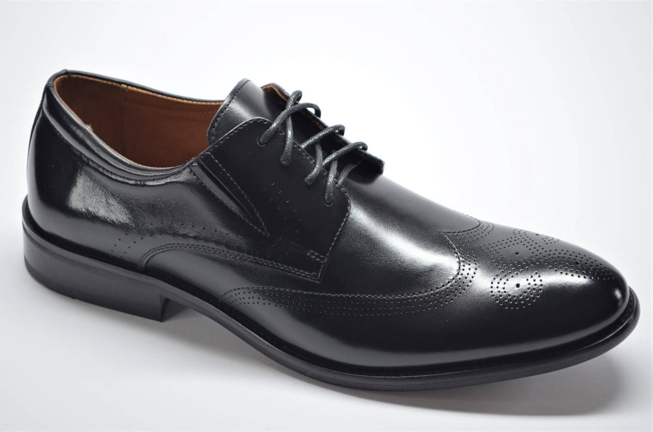 Чоловічі шкіряні туфлі броги чорні Marriotti 210