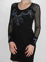 Короткое черное платье со стразами с длинным рукавом трикотаж Fashion House Турция рр. 44-46