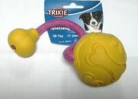 Мяч с веревкой для дрессировки собак 7см/30см, резина