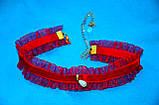 Яркий красный бархатный чокер ожерелье на шею шейку с каймой и подвеской жемчужинкой жемчужиной жемчуг 082021, фото 2