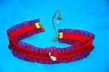 Яркий красный бархатный чокер ожерелье на шею шейку с каймой и подвеской жемчужинкой жемчужиной жемчуг 082021, фото 3