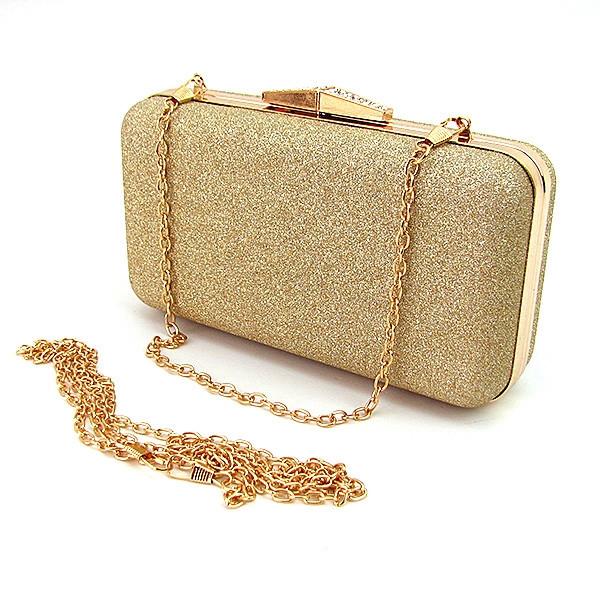 Вечерний женский клатч Rose Heart мини бокс маленький выпускной на цепочке, красивая золотистая сумочка-клатч