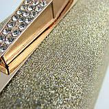 Вечерний женский клатч Rose Heart мини бокс маленький выпускной на цепочке, красивая золотистая сумочка-клатч, фото 4