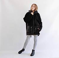 Женская куртка-дубленка двухсторонняя черная