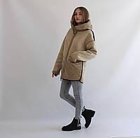 Женская куртка-дубленка двухсторонняя бежевая