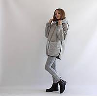 Женская куртка-дубленка двухсторонняя серая
