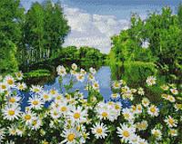 Алмазна мозаїка ArtStory Ромашки біля озера 40*50см в коробці