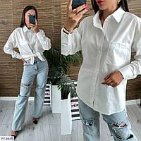 Класична сорочка жіноча сорочка з довгим рукавом білий, блакитний р-ри 42-48 арт. 138