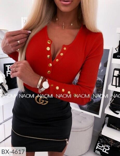 Эффектная стильная облегающая женская кофта с кнопками на груди из трикотажа рубчик рибана р-ры 42-48 арт. 782