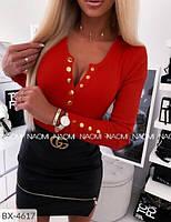 Эффектная стильная облегающая женская кофта с кнопками на груди из трикотажа рубчик рибана р-ры 42-48 арт. 782, фото 1