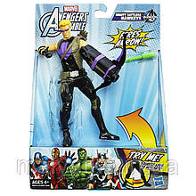 Стріляючий фігурка Соколиного Очі з бойовою зброєю - Hawkeye, Avengers, Assemble, Squeeze Legs, Hasbro
