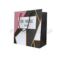Бумажный подарочный пакет 220*240*120 мм, Треугольники
