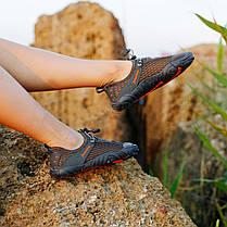 Сірі аквашузи чоловічі і жіночі коралкі акваобувь шльопанці для моря аква взуття сліпони мокасини на море пляж, фото 3