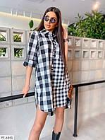 Стильна сорочка туніка жіноча подовжена вільна в клітку рукав трансформер р-ри 42-46 арт. 826, фото 1