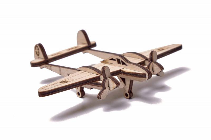 Конструктор деревянный Wood Trick Вудик Самолет Лайтнинг.100% Гарантия качества (Опт, дропшиппинг).