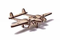 Конструктор деревянный Wood Trick Вудик Самолет Лайтнинг.100% Гарантия качества (Опт, дропшиппинг)., фото 1