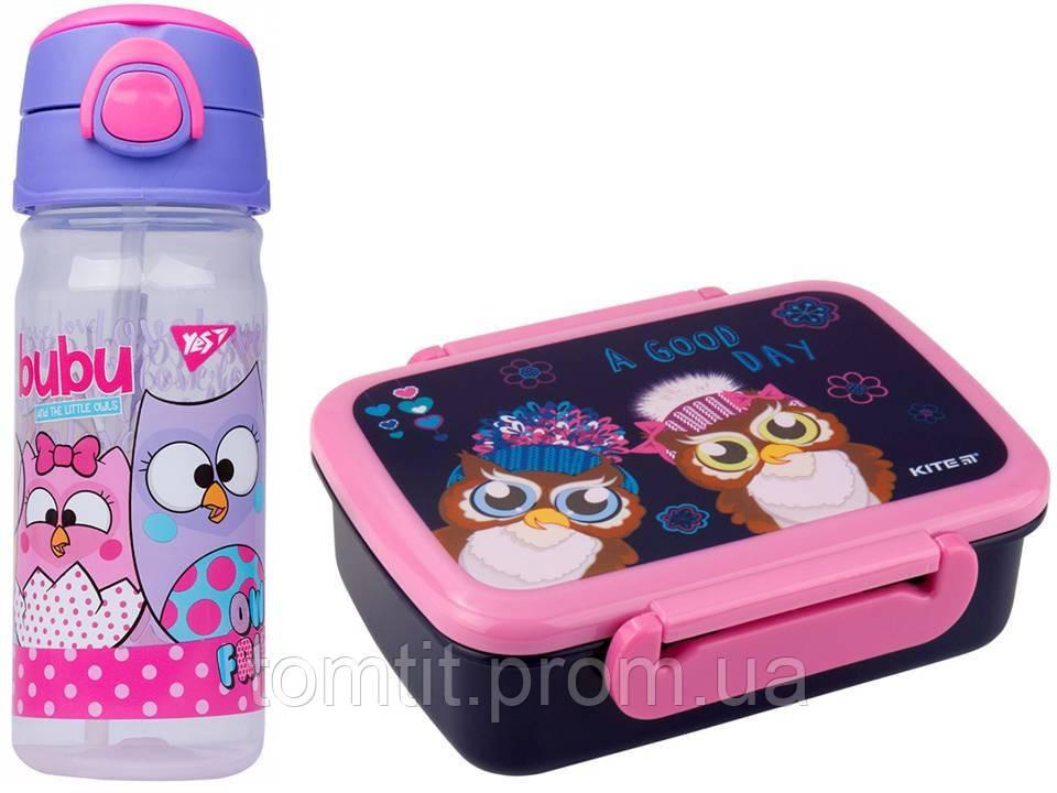"""Набор """"Owl - Совы"""".  Бутылочка с трубочкой и Ланчбокс (контейнер) для завтрака"""