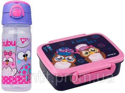 """Набор """"Owl - Совы"""".  Бутылочка с трубочкой и Ланчбокс (контейнер) для завтрака, фото 2"""