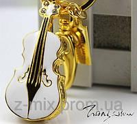 Флешка скрипка в виде брелка в золотой оправе