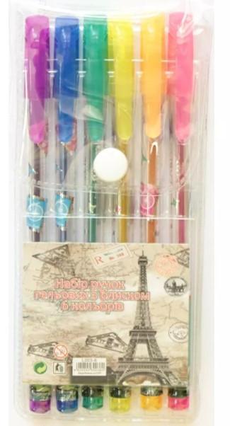 Набор гелевых ароматных ручек с блестками, 6 штук, Париж