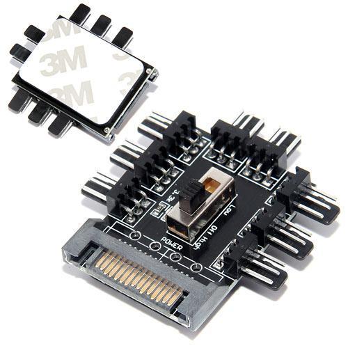 Хаб спліттер для харчування 8 вентиляторів 12В 3pin від Sata, майнінг