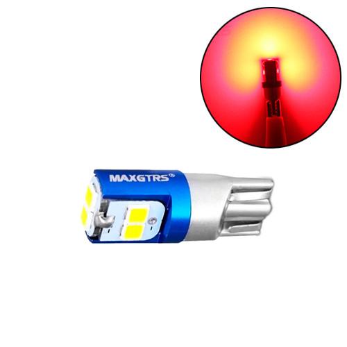 LED T10 W5W лампа в автомобіль, 6 SMD 3030, червоний