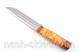 Нож охотничий Буйвол с рукоятью из бересты с кожаным чехлом  + эксклюзивные фото, фото 3