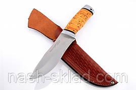 Нож охотничий Зубр с рукоятью из бересты с кожаным чехлом  + эксклюзивные фото, фото 2