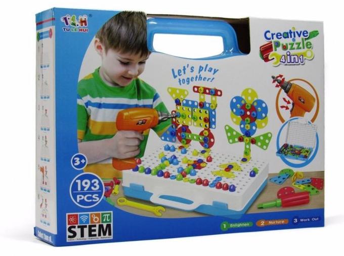Мозаика для детей 4 в 1, на 193 детали, с шуруповертом, на шурупах, в чемодане