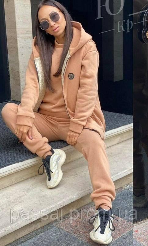 Спортивный костюм теплый 3-ка на флисе (штаны, свитшот и жилетка)