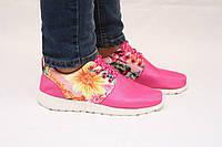 Кроссовки в стиле Nike Roshe Run розовые, фото 1
