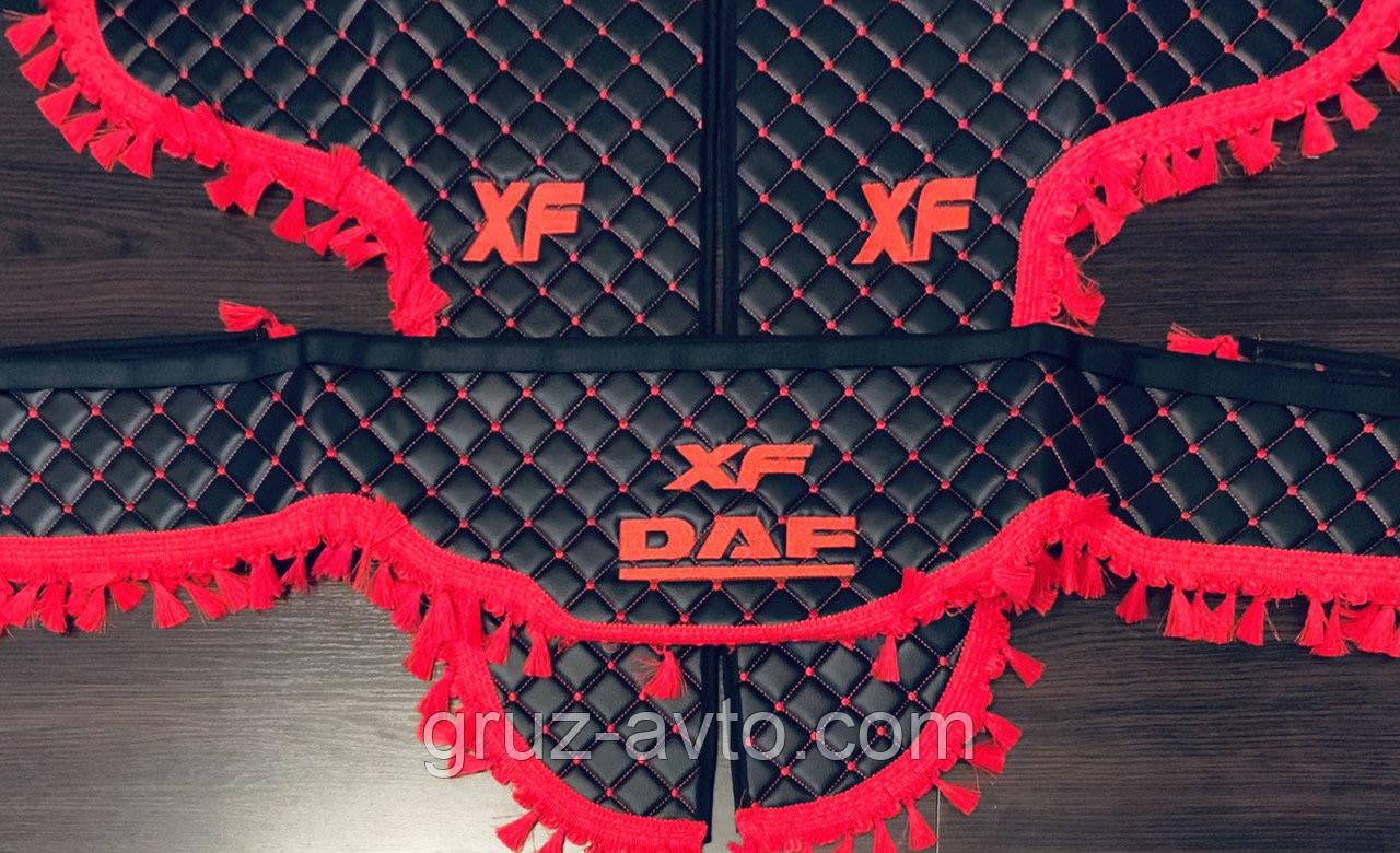 Штори преміум в кабіну DAF XF ДАФ лобове скло-1 і бічні-2 екошкіра