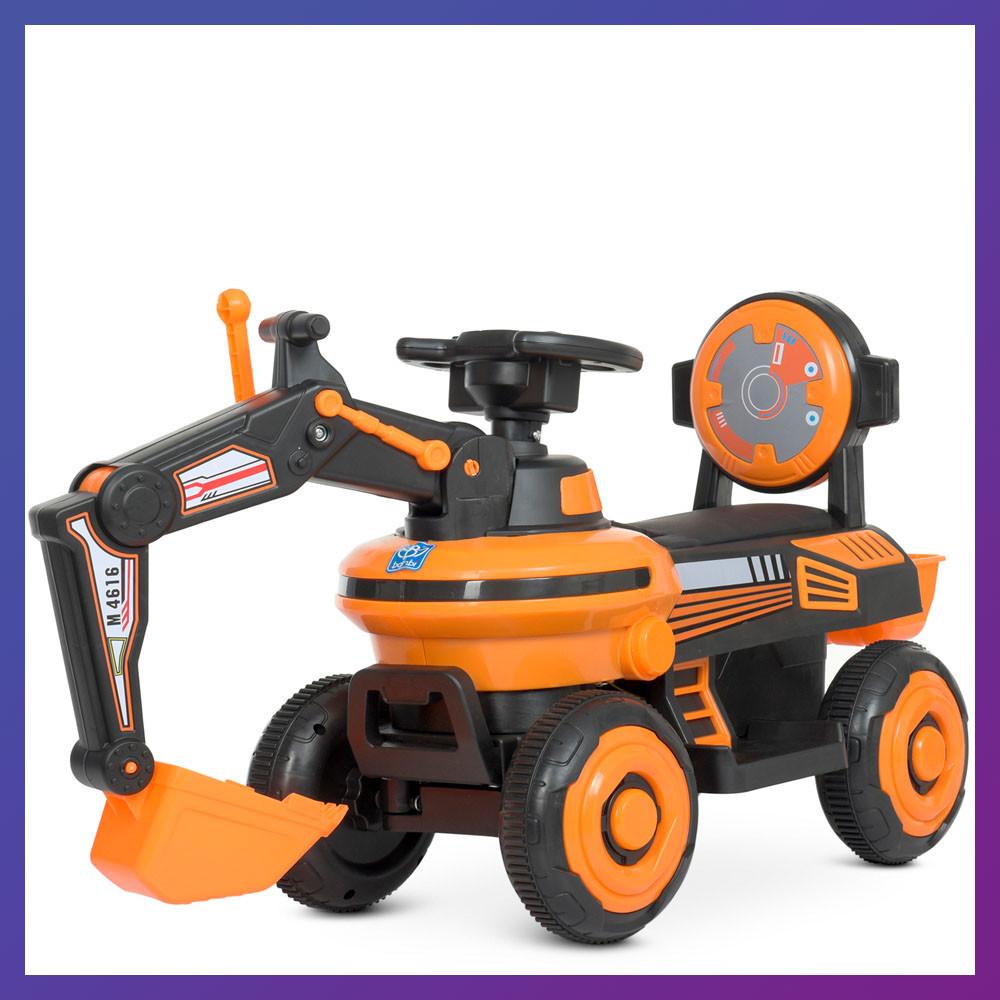 Детский электромобиль-толокар Экскаватор с подвижным ковшом и подсветкой Bambi М 4616Л-7 оранжевый